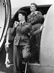 WASP C-47 flight crew: Pilot Joanna Trebtoske (Jenks), left, and Copilot Marjorie Logan (Rolle) at Romulus Army Air Field, Mich. (U.S. Air Force photo)